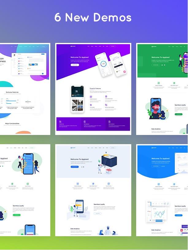 6 bản demo của appland theme wordpress
