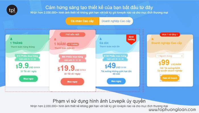 Gói đăng ký tài khoản trên website Lovepik