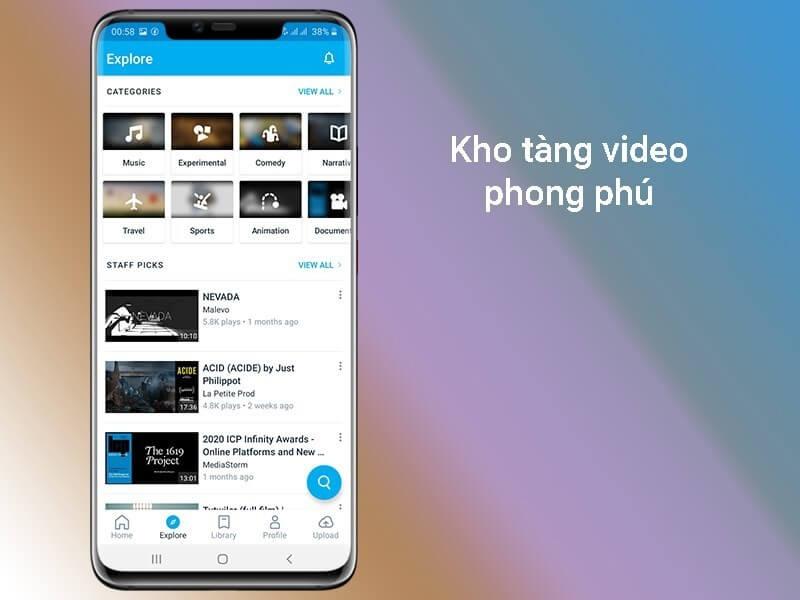 Vimeo có kho tàng video phong phú