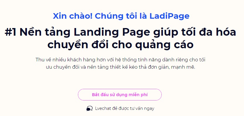 Tạo Landing Page miễn phí với Ladipage