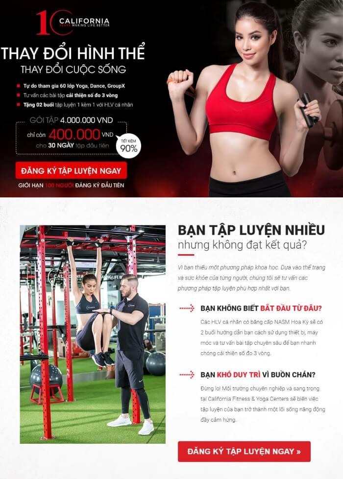 Landing Page phòng tập Gym