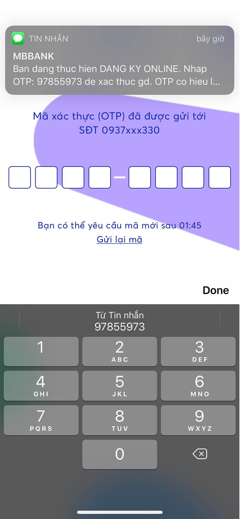 Nhập mã OTP của bạn vào các ô trên App