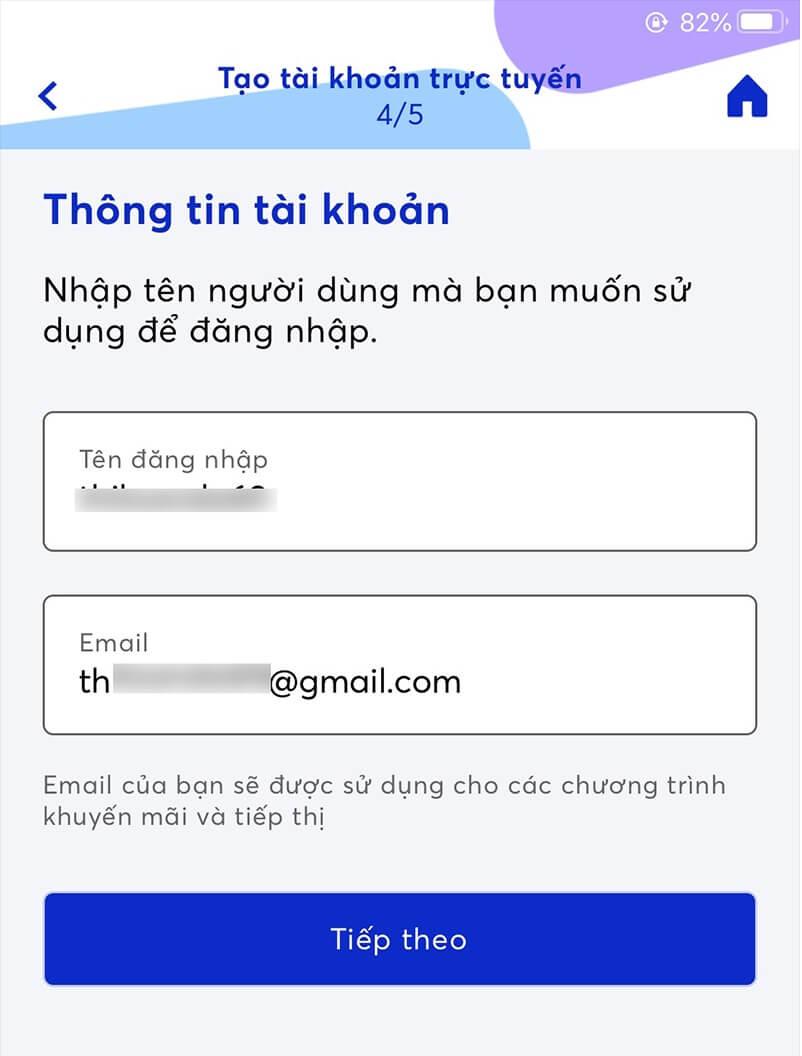 nhập tên đăng nhập và email của bạn