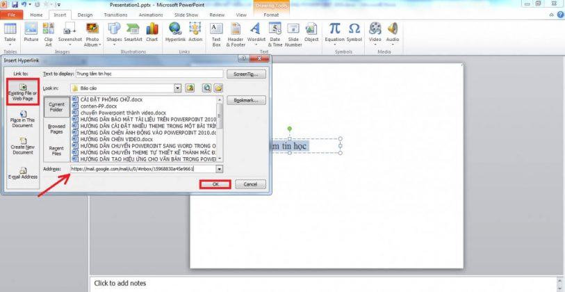 Tạo hyperlink trong powerpoint
