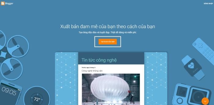 Truy cập và tạo tài khoản Blogger