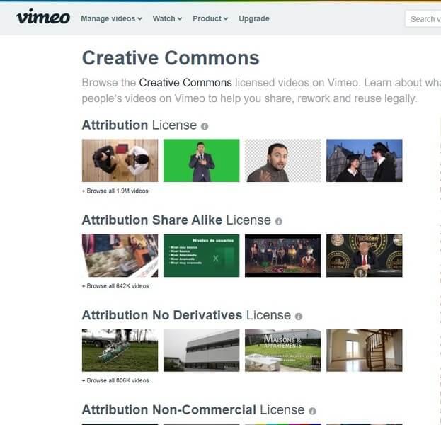 Trang chủ của Vimeo