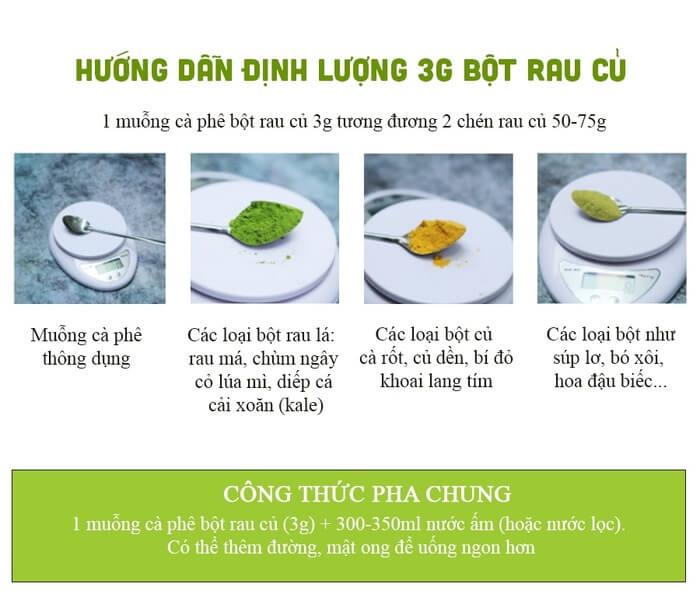 Hướng dẫn định lượng 3g bột rau củ