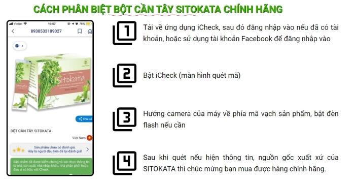 Nhận biết bột giảm cân Sitokata chính hãng