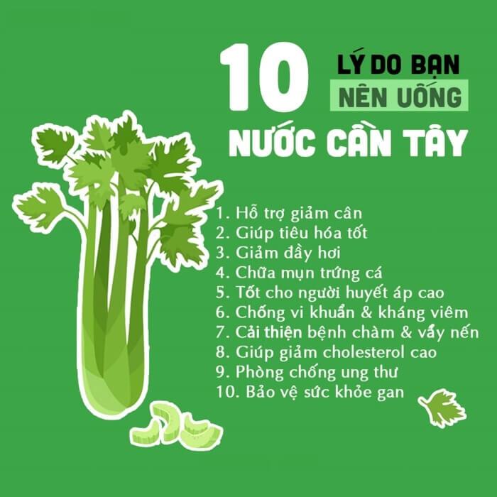10 lý do nên uống bột cần tây