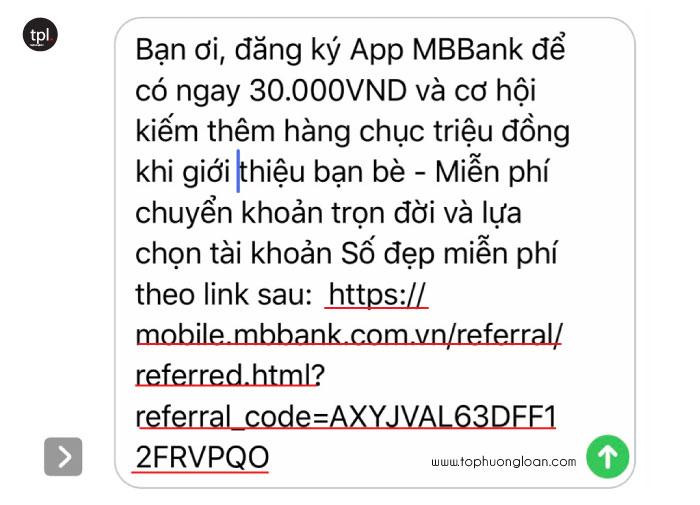 Tin nhắn chứa link giới thiệu của MB Bank
